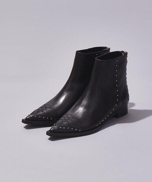 Au BANNISTER / オゥ バニスター ブーツ(ショート丈) | thyme/ウエスタンステッチショートブーツ【予約】(ブラック)