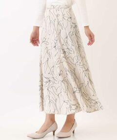 ◆柄物なのに合わせやすさ◎トレンドのラインフラワープリントで垢抜けスタイル◆<br><br>リネンライクな素材で仕上げた、マチ付きスカートは、<br>腰周りはすっきりと、<br>裾に向かって程よいボリューム感のあるフレアシルエット。<br>後ろゴム入りで着脱も楽です。<br>今の季節にピッタリな、<br>ラインフラワー柄で気分があがる1枚! <br><br>※34(XSサイズ)・42(XLサイズ)は<br>WEB・一部限定店舗での販売です。