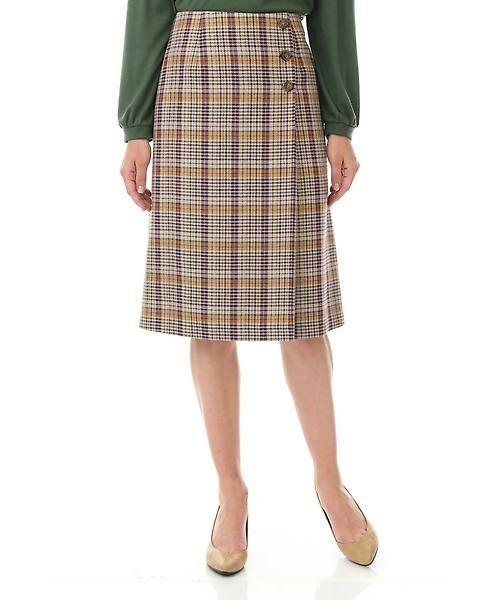 Aylesbury / アリスバーリー スカート   ◆ラップ風カラーチェックスカート(パープル)