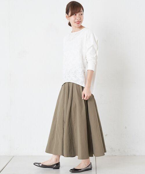 BEARDSLEY / ビアズリー ロング・マキシ丈スカート | ウエストジャージータフタスカート | 詳細5