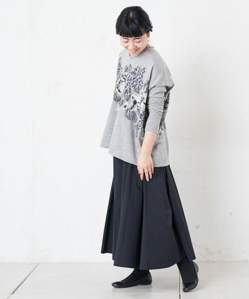 BEARDSLEY / ビアズリー ロング・マキシ丈スカート | ウエストジャージータフタスカート | 詳細12