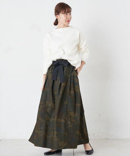 BEARDSLEY / ビアズリー ロング・マキシ丈スカート   再入荷!迷彩ギャザータックスカート   詳細1