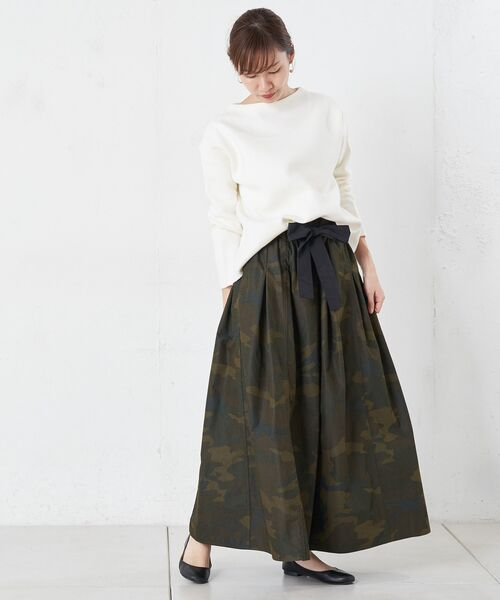 BEARDSLEY / ビアズリー ロング・マキシ丈スカート   再入荷!迷彩ギャザータックスカート   詳細2