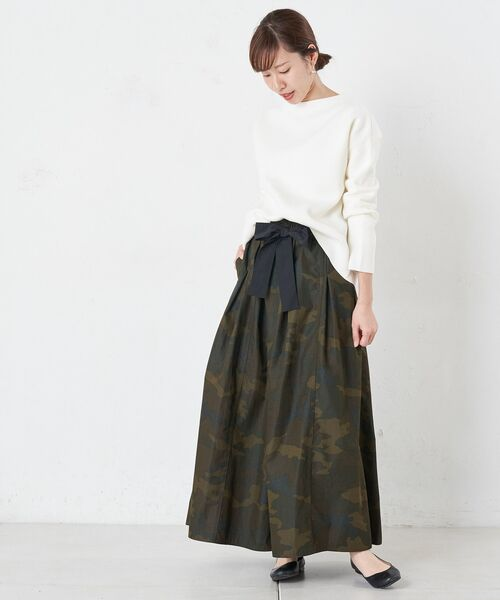 BEARDSLEY / ビアズリー ロング・マキシ丈スカート   再入荷!迷彩ギャザータックスカート   詳細3