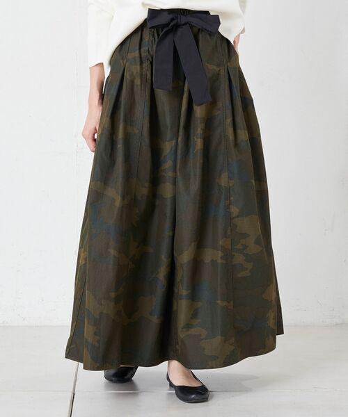 BEARDSLEY / ビアズリー ロング・マキシ丈スカート | 再入荷!迷彩ギャザータックスカート(カーキ)