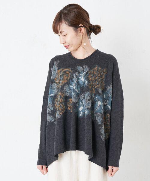 BEARDSLEY / ビアズリー カットソー | 花ジャガードプルオーバーカットソー(ダークグレー)