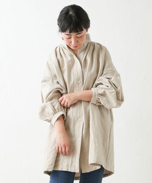 BEARDSLEY / ビアズリー シャツ・ブラウス | ウールリネンシャツジャケット(ベージュ)