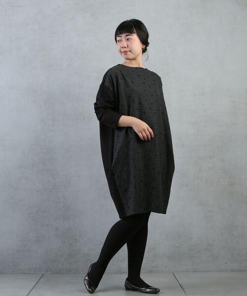 BEARDSLEY / ビアズリー ロング・マキシ丈ワンピース | ギンガムドットワンピース(ブラック)