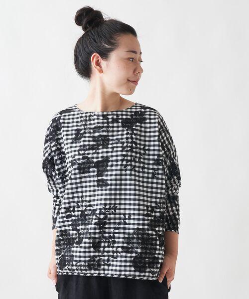BEARDSLEY / ビアズリー シャツ・ブラウス   刺繍シャツTシャツ(ブラック)