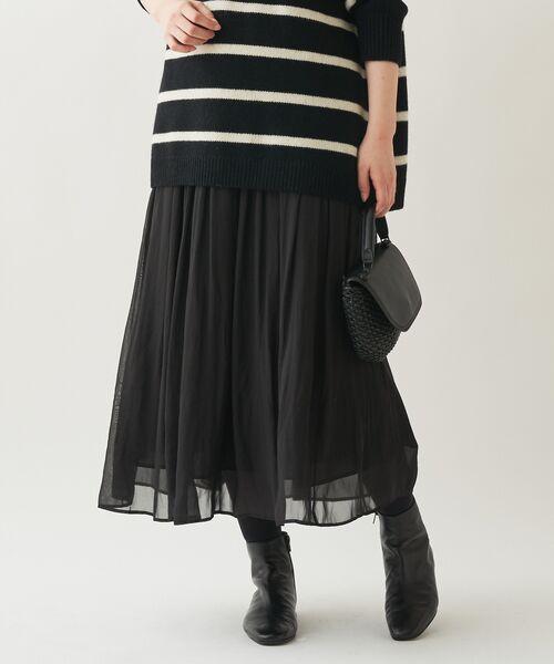 BEARDSLEY / ビアズリー ロング・マキシ丈スカート | シワシフォンギャザースカート(ブラック)
