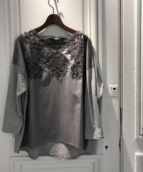 BEARDSLEY / ビアズリー カットソー | 襟ぐり刺繍カットソー(ライトグレー)