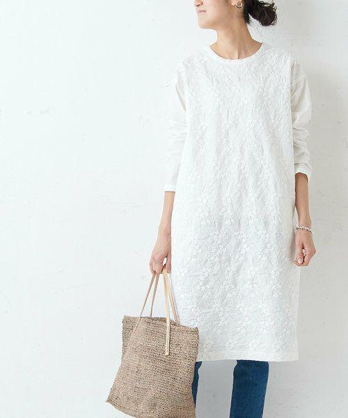 BEARDSLEY / ビアズリー ロング・マキシ丈ワンピース   フロント刺繍ワンピース(ホワイト)