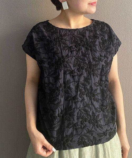 BEARDSLEY / ビアズリー カットソー | 《3サイズ展開》フロント刺繍フレンチカットソー(ブラック)
