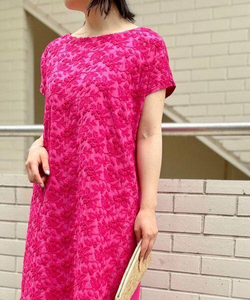 BEARDSLEY / ビアズリー ロング・マキシ丈ワンピース   敦賀フロント刺繍ワンピース(ピンク)