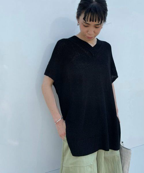 BEARDSLEY / ビアズリー ニット・セーター   麻混畦チュニックニット(ブラック)