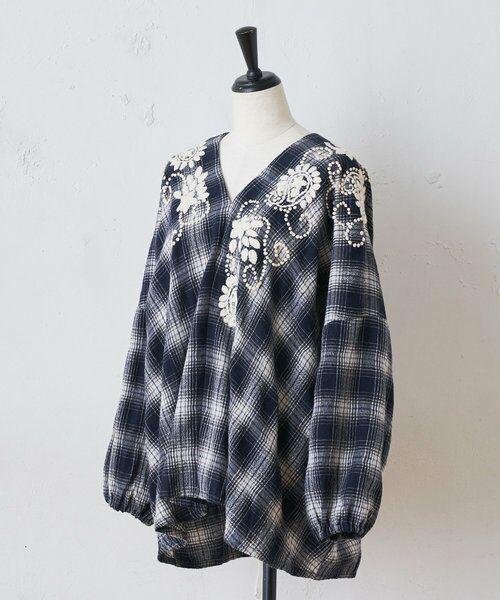 BEARDSLEY / ビアズリー シャツ・ブラウス | ウールチェックハンド刺繍ブラウス | 詳細23