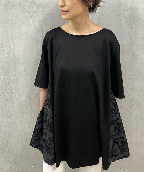 BEARDSLEY / ビアズリー カットソー   サイド刺繍フレアカットソー(ブラック)