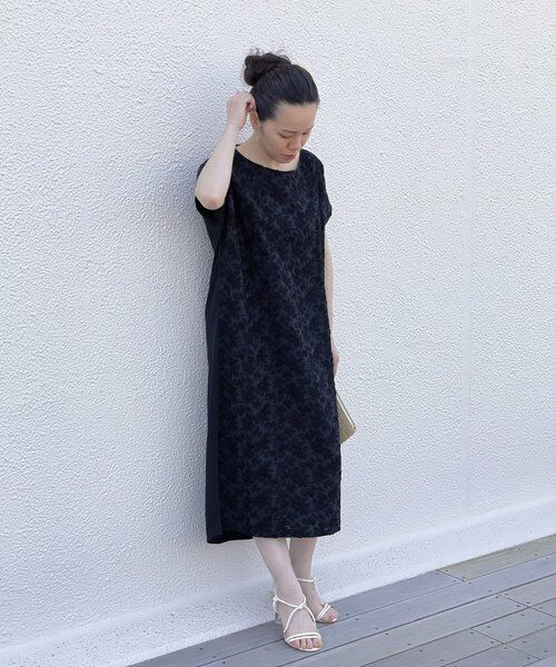 BEARDSLEY / ビアズリー ロング・マキシ丈ワンピース   フロント刺繍フレンチワンピース(ブラック)