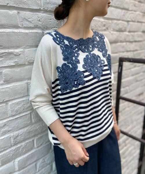 BEARDSLEY / ビアズリー ニット・セーター   襟ぐり刺繍ニット(ブラック)
