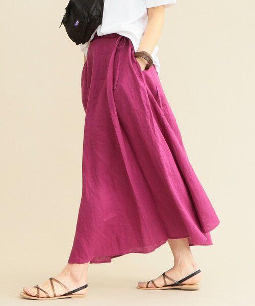 【WEB限定】by ※ウォッシャブルフレンチリネンリボンマキシスカート -手洗い可能-