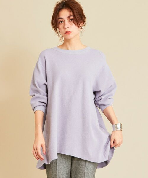 BEAUTY&YOUTH UNITED ARROWS / ビューティ&ユース ユナイテッドアローズ カットソー | BY∴ ワッフルAライン バックUネックカットソーо(LILAC)