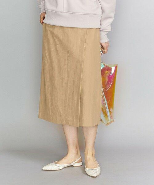 BEAUTY&YOUTH UNITED ARROWS / ビューティ&ユース ユナイテッドアローズ ミニ・ひざ丈スカート   BY コットンナイロンツイルラップスカート(BEIGE)