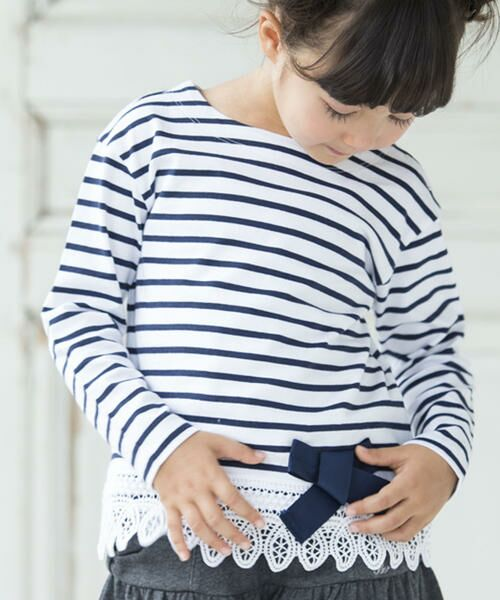 40/2天竺ボーダー裾レース長袖Tシャツ