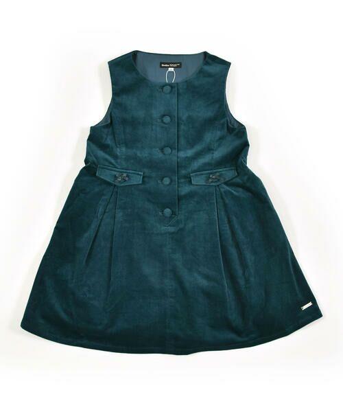 BeBe / べべ スカート | クルミ ボタン フラップ ポケット ツイル ベッチン ジャンパースカート(90cm〜140cm)(グリーン)