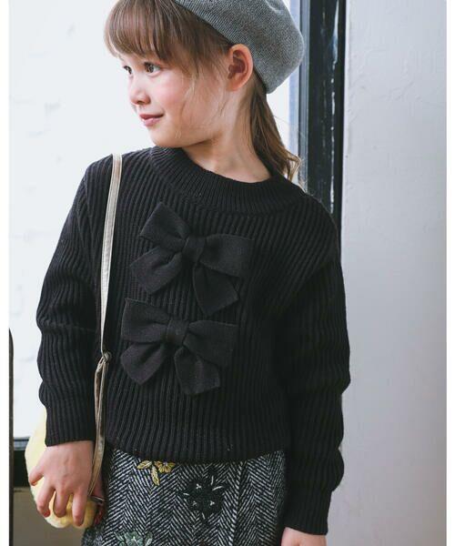 BeBe/べべ 日本製 BIG リボン 付き アクリル ナイロン ウール混 長袖 ニット(110cm〜150cm) ブラック 110cm