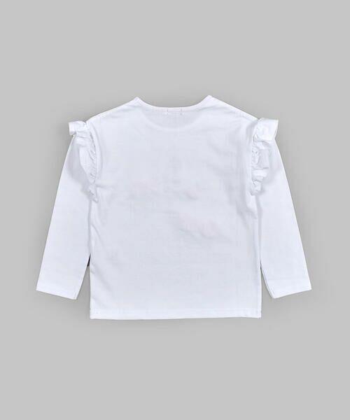 BeBe / べべ Tシャツ | ドロップ ショルダー  袖 フリル チェリー リボン モチーフ Tシャツ(80〜140cm) | 詳細1