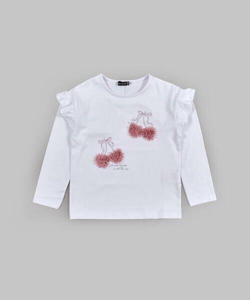BeBe / べべ Tシャツ | ドロップ ショルダー  袖 フリル チェリー リボン モチーフ Tシャツ(80〜140cm)(ホワイト)