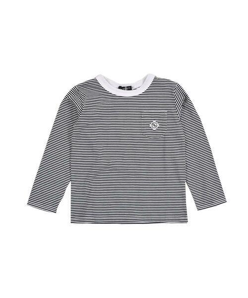 BeBe/べべ 刺繍 ワッペン付き ボーダー Tシャツ(80〜150cm) ブラック系 130cm