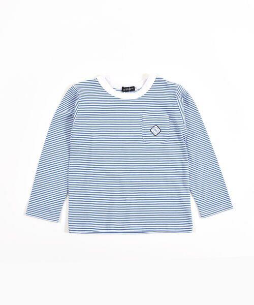 BeBe/べべ 刺繍 ワッペン付き ボーダー Tシャツ(80〜150cm) ブルー系 100cm