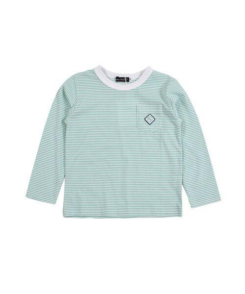 BeBe/べべ 刺繍 ワッペン付き ボーダー Tシャツ(80〜150cm) グリーン系 80cm
