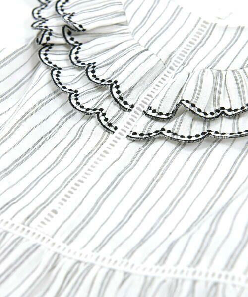 BeBe / べべ ワンピース | スカラップ フリル 衿 ナチュラル ストライプ ワンピース(90~140cm) | 詳細7