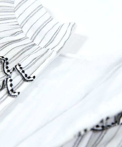 BeBe / べべ ワンピース | スカラップ フリル 衿 ナチュラル ストライプ ワンピース(90~140cm) | 詳細10