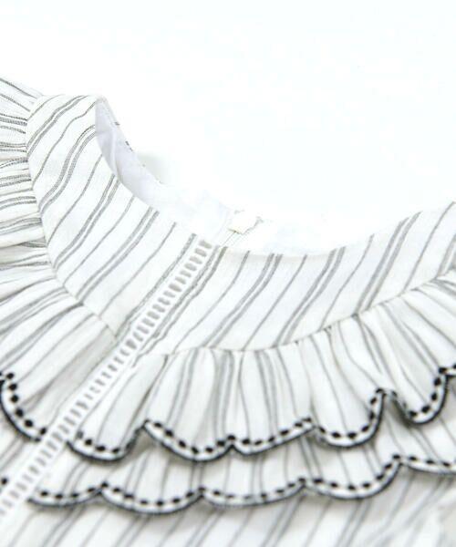 BeBe / べべ ワンピース | スカラップ フリル 衿 ナチュラル ストライプ ワンピース(90~140cm) | 詳細5