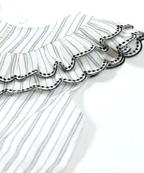BeBe / べべ ワンピース | スカラップ フリル 衿 ナチュラル ストライプ ワンピース(90~140cm) | 詳細6