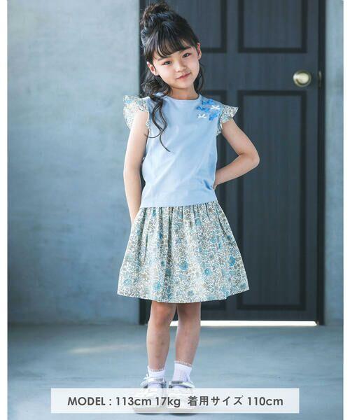 BeBe / べべ Tシャツ | 肩 フリル サテン リボン Tシャツ(90~150cm) | 詳細3