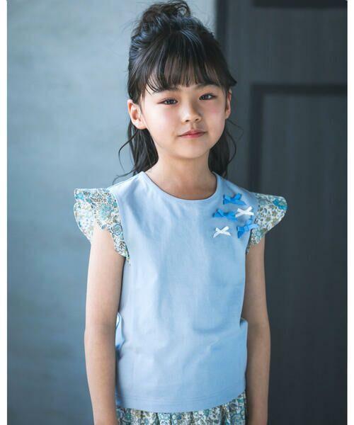 BeBe / べべ Tシャツ | 肩 フリル サテン リボン Tシャツ(90~150cm)(ブルー)