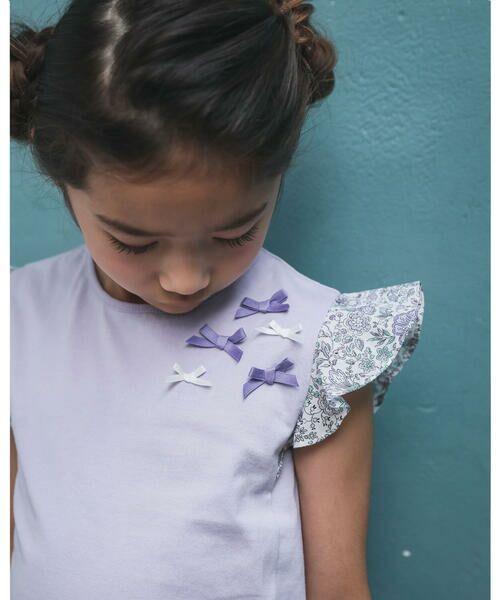 BeBe / べべ Tシャツ | 肩 フリル サテン リボン Tシャツ(90~150cm) | 詳細16
