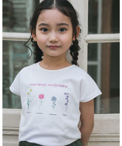 BeBe / べべ Tシャツ   【TioTio】フラワー プリント Tシャツ (90〜140cm)(オフホワイト)