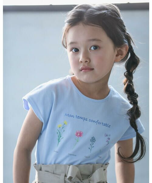 BeBe / べべ Tシャツ   【TioTio】フラワー プリント Tシャツ (90〜140cm)(ブルー)