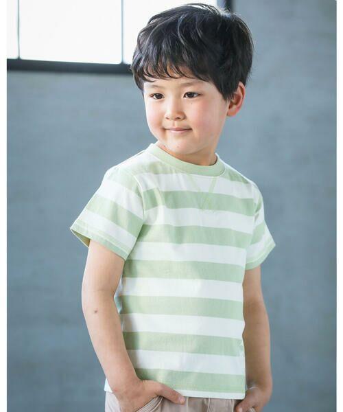 BeBe / べべ Tシャツ   配色 ボーダー レギュラー Tシャツ(90〜150cm)(グリーン系)