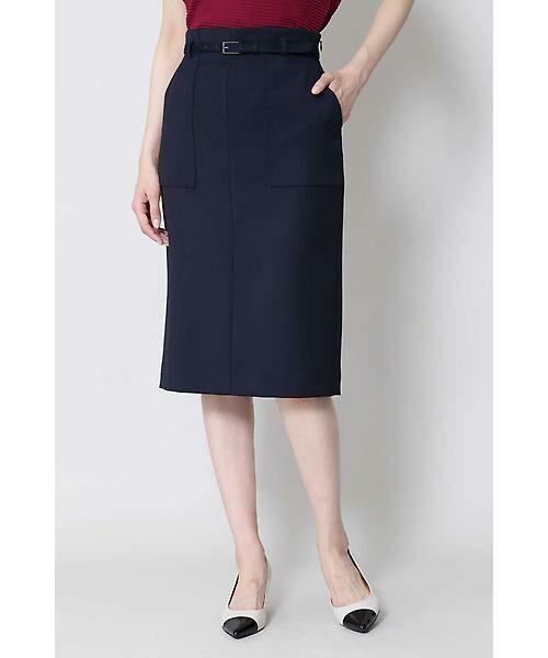 BOSCH / ボッシュ スカート | [ウォッシャブル]ベルテッドポケットタイトスカート(ネイビー)