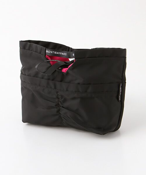 brontibayparis / ブロンティベイパリス ポーチ   ナイロンバッグインバッグ キューティー(ブラック*ショッキングピンク)