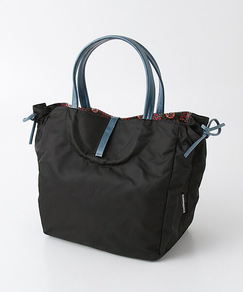 brontibayparis / ブロンティベイパリス ハンドバッグ | 【フランス製】ハンドバッグ 内側リバティ柄 「ナプレス」(ブラック*サファイア)