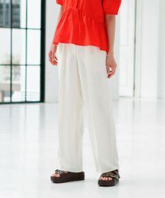 <br /><br /><br>【CAST:キャストコロン 2021年春夏アイテム】<br><br>【Design】<br>脚のシルエットを拾わないワイド美シルエットパンツ。<br>落ち感がとても綺麗なのが特徴で、オンオフ兼用としてお使い頂けるアイテム。<br><br>【Fabric】<br>トリアセテート特有のドレープ性・パウダリー感・ふくらみを兼ね備えた素材です。<br>二重織の程よい肉感にコンパクトなストレッチはストレスフリーな着心地です。<br>トリアセテートは発色性も良く、特に濃色は深い色が表現できています。<br><br>【Styling】<br>CAST:一押しの鮮やかなカラーが華やかな印象の主役級パンツ。<br>エレガントスタイルもカジュアルコーディネートにも着用できる万能パンツです。<br><br><br><br>【スタッフコメント/身長150cm/着用サイズS】<br>パンツは、ストレスフリーで履き心地抜群です♪また、タックが内側に入っているのでウエストからお尻周りが広がりすぎず着痩せ効果抜群!カラーパンツは、コーデを華やかにしてくれるので1枚持っているだけで気分が変わりますよ♪<br><br><br><br>●洗濯:手洗い可<br /><br /><br><br>※この商品はサンプルでの撮影を行っています。<br>実際の商品とイメージ、サイズ、品質表示、原産国等が異なる場合がございます。<br /><br /><br><br>※店頭及び屋外での撮影画像は、光の当たり具合で色味が違って見える場合があります。商品の色味は、スタジオ撮影の画像をご参照ください。