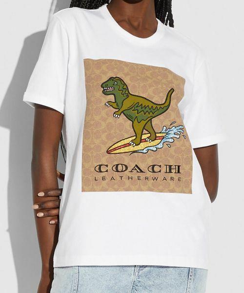 COACH / コーチ Tシャツ   【日本限定】シグネチャー サーフ レキシー Tシャツ(WHITE)