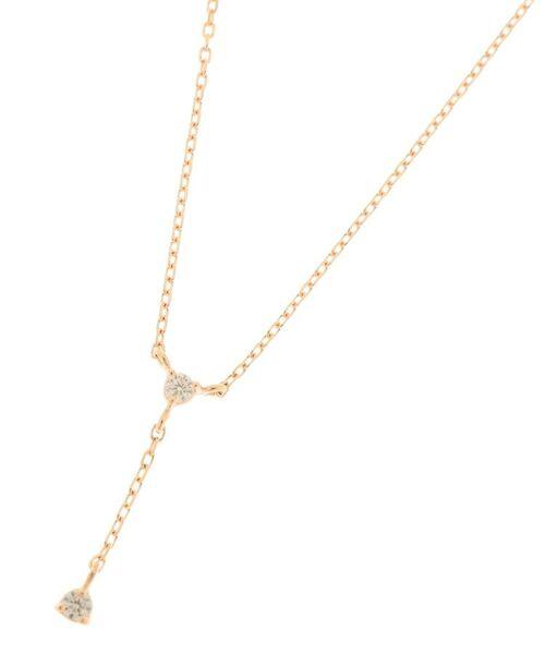 COCOSHNIK / ココシュニック ネックレス・ペンダント・チョーカー | ダイヤモンド 3つ爪 Y字 ネックレス(イエローゴールド(104))